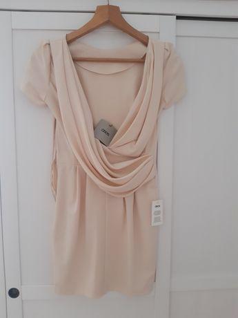 Sukienka ecru rozm. 34 xs beż pleców nowa ASOS beżowa