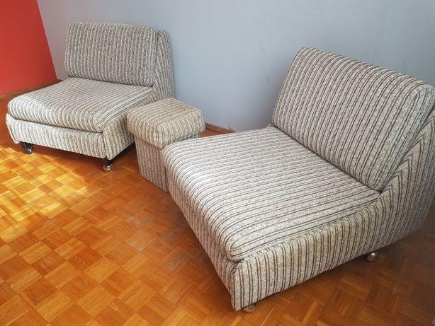 Komplet mebli 2 fotele 2 pufy vintage