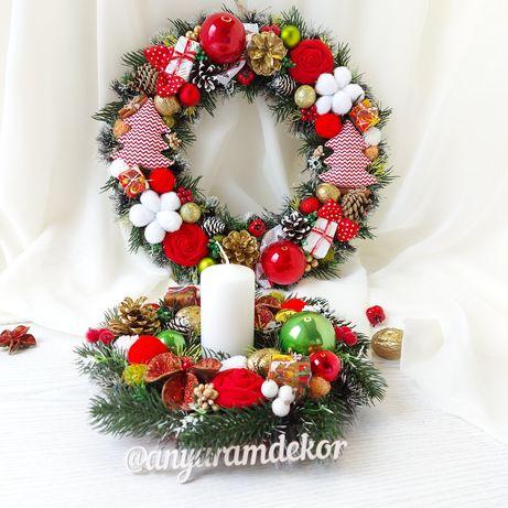 Різдвяний декор, новорічний вінок традиційні кольори, підсвічник вінок