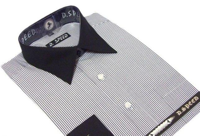 elegancka biała koszula w paski czarny kołnierz 41/42 L