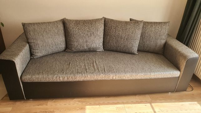 Sofa, kanapa, używana, poj. na pościel, funkcja spania + pufa