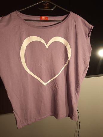 Bluzka koszulka T-shirt fioletowa serce txm rozmiar L 40