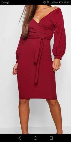 Piękna elegancka sukienka kolor burgundowy rozmiar 38 kopertowy dekolt