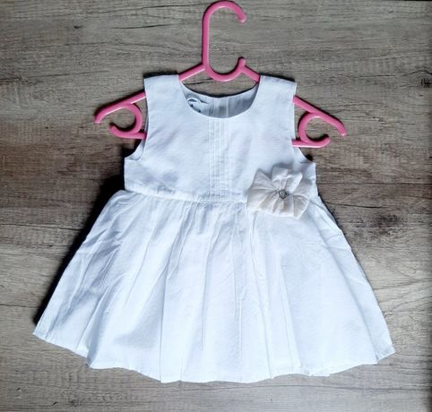 sukienka biała niemowlęca chrzciny wesele roczek święta r 74/80 NOWA
