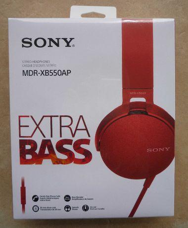 Nowe słuchawki Sony EXTRA BASS MDR-XB550AP czerwone