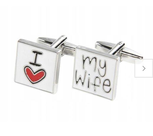 Spinki do mankietów wesele ślub I love my wife