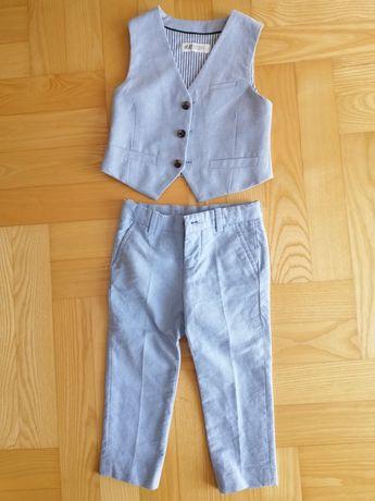 Spodnie kamizelka komplet h&m rozm.98 jak nowy