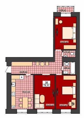 3-кімнатна квартира ,вул Б.Хмельницького-Сагайдачного,Івано-Франківськ