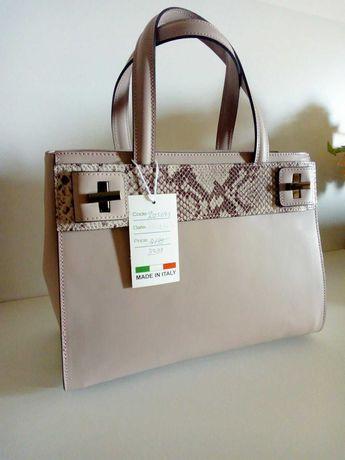 Новая кожаная сумка женская сумочка кожа италия пудра