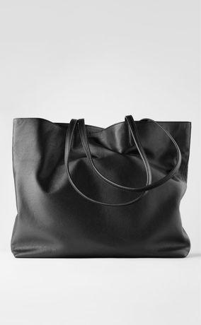 ZARA czarna klasyczna skórzana torebka shopperka shopper bag skóra