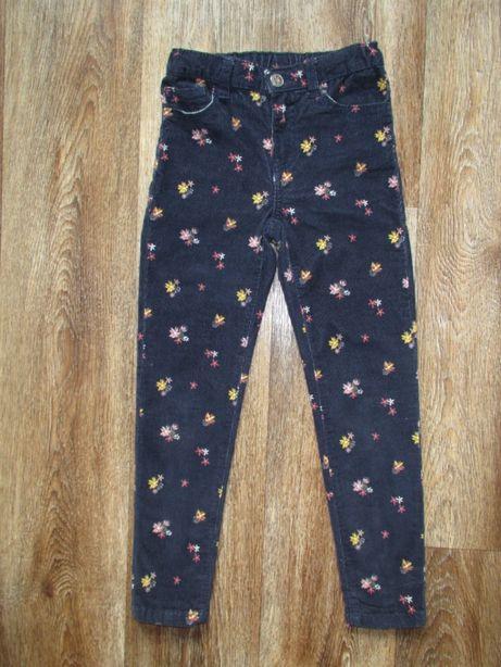 Продам брюки вельветовые б/у с цветами Littlekids для девочки рост 122