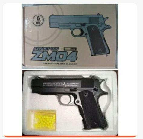 Пистолет Страйкбольный ZM-04 с магазином +30 пуль в подарок. Акция 35%