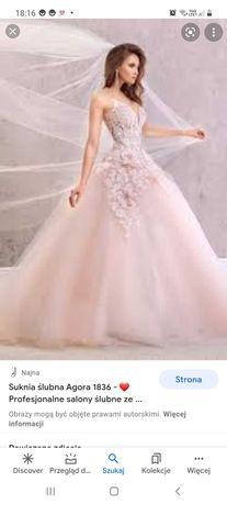 Suknia ślubna księżniczka! Bogato zdobiona