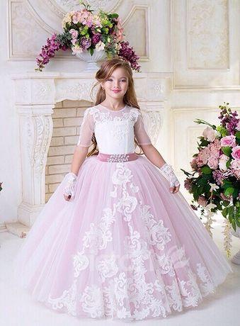 Платье бальное нарядное на выпускной фотосессию праздник пудра