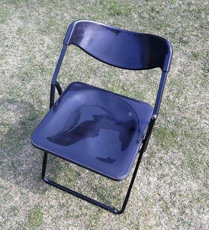Krzesło składane plastikowe, czarne