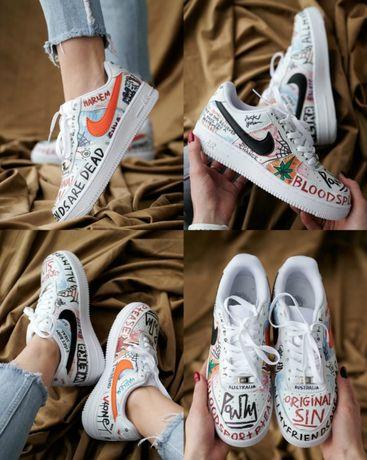 Кроссовки Nike Air Force 1 Graffiti Harlem 36-45 Кожа! Хит Сезона! Топ