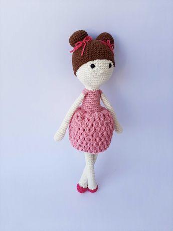 Мягкая кукла с бантиками ручной работы Лили 28 см