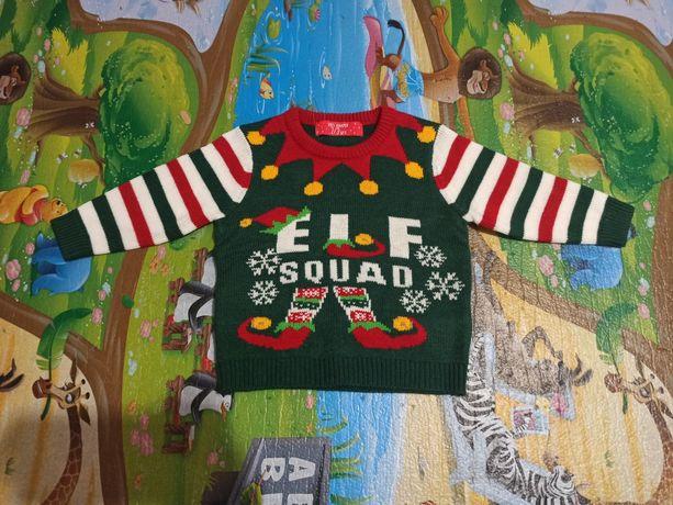 Новогодний свитер джемпер, возраст 2/3 года