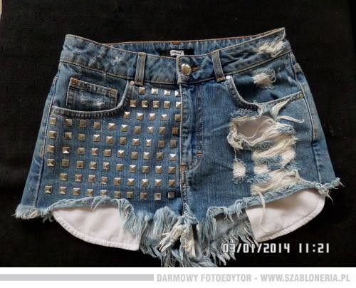 Denim jeansowe spodenki przetarcia nity roz 34