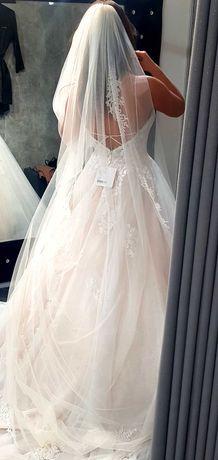 Suknia ślubna z trenem rozmiar 38. Stella York 6886 + welon