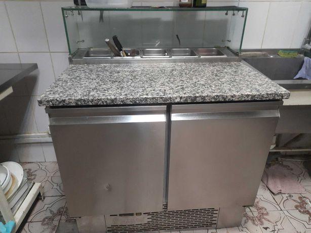 Стол для пиццы холодильный  100см мармитами Италия Desmon TS2PZG-S