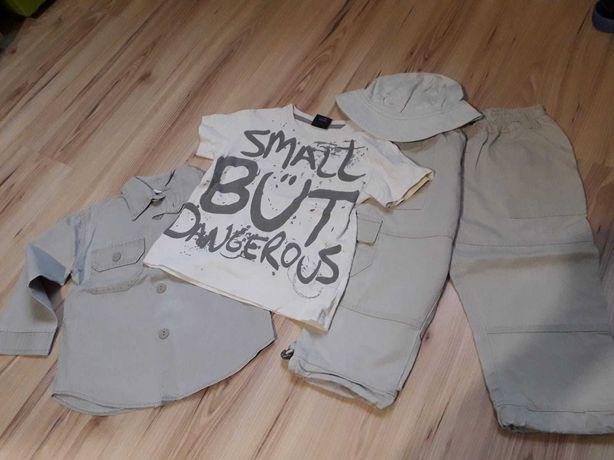 Next 98 Komplet 2-3 latka kapelusz spodnie koszula T-shirt
