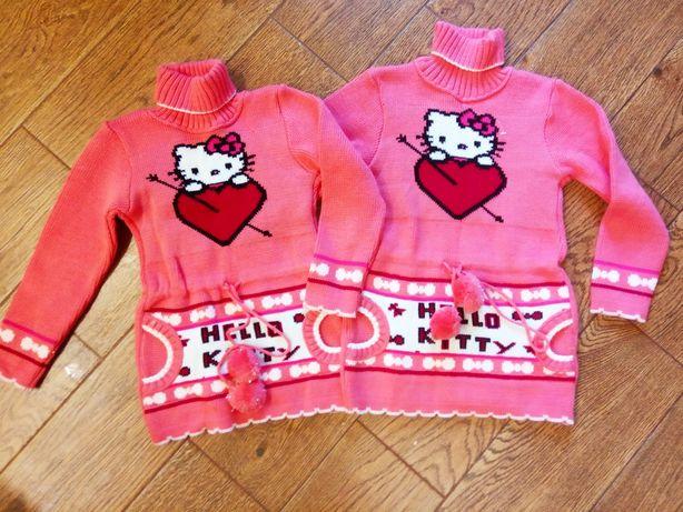 Туника,свитер для двойни,близнецов Hello Kitty