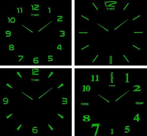 Люминесцентные Светящиеся в темноте настенные 3Д часы 70-150см
