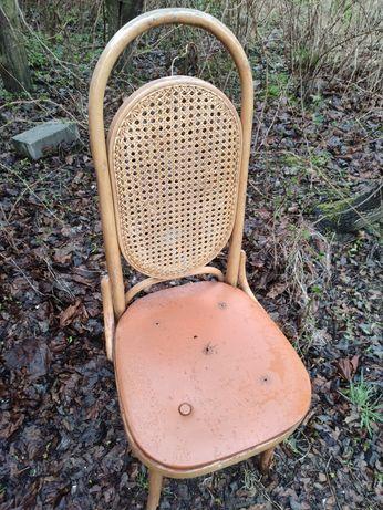 Krzesło ratan stare prl antyk ? Okazja do odnowienia podnóżek taboret