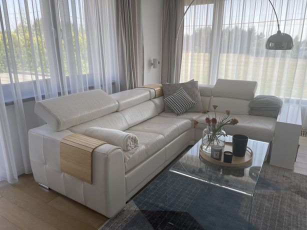 Sofa Vero Rosa Narożnik ecru skóra naturalna licowa z funkcją spania