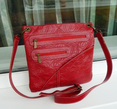 Красная сумка кожа Valentino