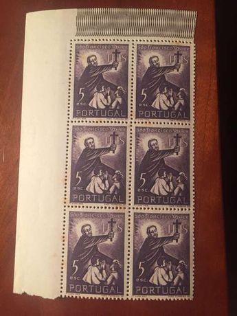 6 selos 4.º centenário da morte S. Francisco  Xavier.  1952