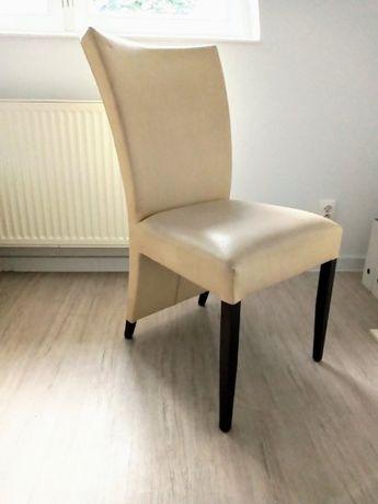 KRZESŁA Tapicerowane Ekoskóra Białe - Ecru Nowoczesne Krzesło Modern