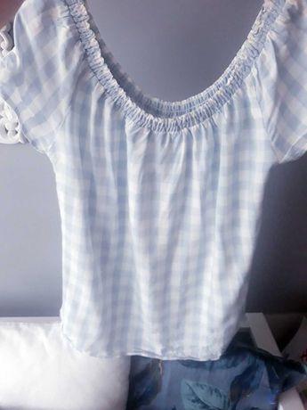 bluzka hiszpanka krateczka Orsay L, XL 44 błękitno-biała jak nowa