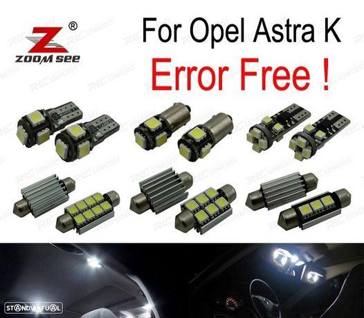 KIT COMPLETO DE 13 LÂMPADAS LED INTERIOR PARA OPEL ASTRA K OPC GTC 2015 +