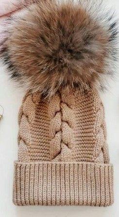 Модная детская вязаная шапка шапочка ручная работа помпон енот