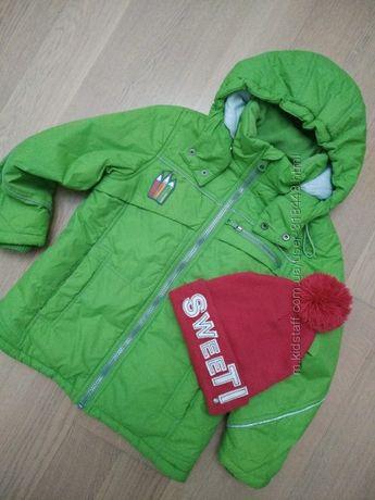 Яркая демисезонная курточка 5-6 лет р.116-122 шапка в подарок