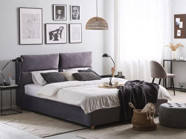 Cama de casal em veludo cinzento com arrumação 140 x 200 cm BATILLY - Beliani
