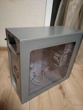 Корпус с окном+кулер 80мм, dvd, floppy, LAN rj45, usb