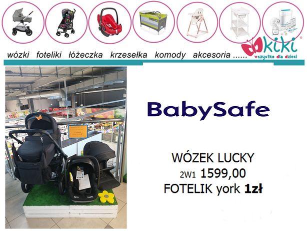 wózek baby safe LUCKY 3w1 spacerówka gondola fotelik york za 1 zł !!!