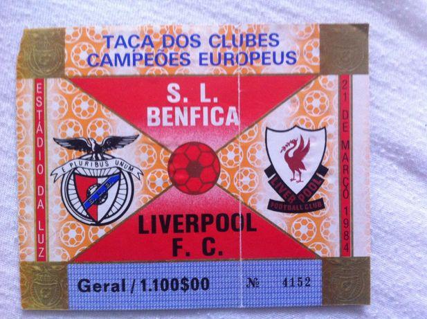 Bilhete Jogo Benfica-Liverpol de 1984