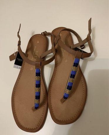 Nowe sandały skórzane japonki brązowe boho next