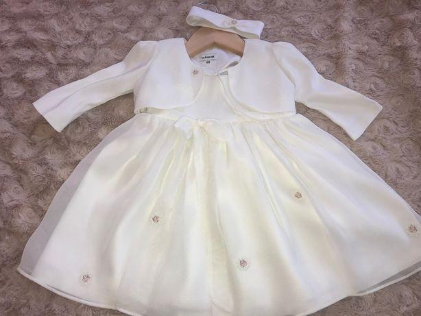 CHRZCINY-rozm.68, sukienka od projektantki, bolerko, opaska, bloomers.