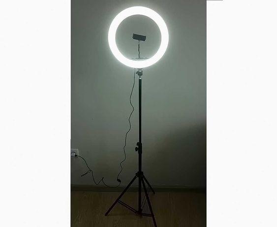 Кольцевая лампа 33 см на штативе, для мастеров тату и макияжа, 25 Вт