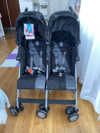 Прогулочная коляска для двойни Maclaren Twin Triumph, черный с серым