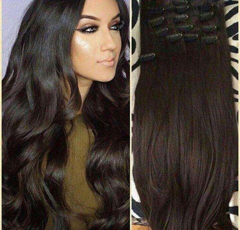 Волосы на заколках трессы пряди ровные пряди волнистые накладные волос