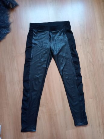 Czarne legginsy lateksowe skórzane S 36 XS S