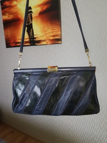 Skórzana torebka, kopertówka, granatowo-czarna