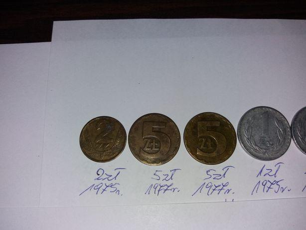 Monety 5 zł ,2 zł , 1 zł 50 gr ,20 gr , 10 gr bez znaku mennicy.