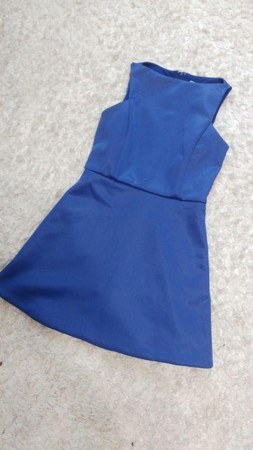 Asos niebieska trapezowa sukienka zamek satynowa